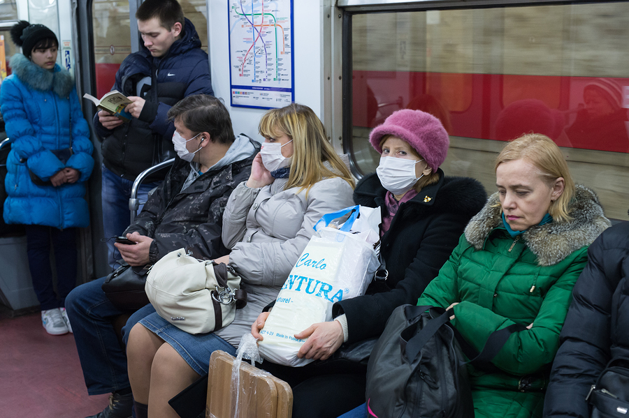 People In The Subway In Gauze Bandages Protected Against Swine F