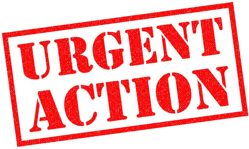 URGENT ACTION red Rubber Stamp over a white background.