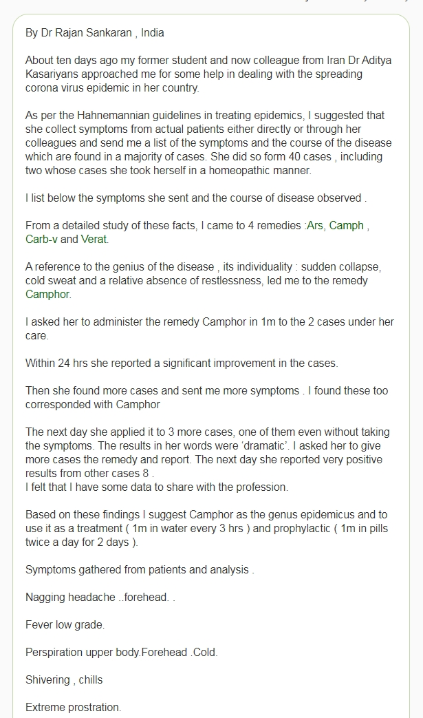 Have Two Homeopathic Doctors Identified a Treatment and Preventative Remedy for COVID-19? 16